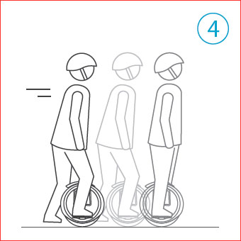 Con un pie en el pedal, deslizarse 3-5 metros con el impulso del pie libre con el suelo.