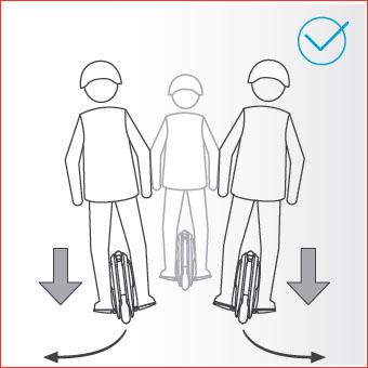 Hacer un giro mediante la aplicación de fuerza sobre un pedal o el otro, inclinando ligeramente el cuerpo.